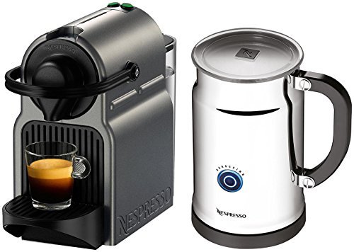 Nespresso A+C40-US-TI-NE Inissia Espresso Maker with Aeroccino Plus Milk Frother, Titan (Discontinued Model) by Nespresso