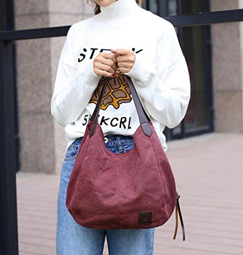 Lindo Playa Mujer LuckES Hombro de Oficina Lona Hombro Bolsos del Bandolera Shoppers Almuerzo de Bolsa de Totes Bolsa Bolsa Bolsos Púrpura Bolsa RgnrqdnfIx