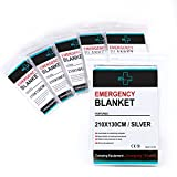 """Always Prepared Heavy Duty Emergency Blankets (Pack of 6) Silver 52""""X 82"""" - Sturdy Mylar Thermal Reusable Blanket - Aluminized Polyester - 100% Wind & Waterproof - Flexible in Freezing Temperatures"""