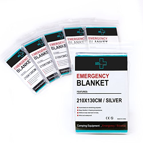 "Always Prepared Heavy Duty Emergency Blankets (Pack of 6) Silver 52""X 82"" - Sturdy Mylar Thermal Reusable Blanket - Aluminized Polyester - 100% Wind & Waterproof - Flexible in Freezing Temperatures"