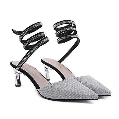 Pour Argent Escarpins Pointu Hauts Femme Talons Sandales Paillettes Habillées À Femmes Talons Bout Sexy Belles Aiguilles Zpffe Chaussures 1nTwaUzq1