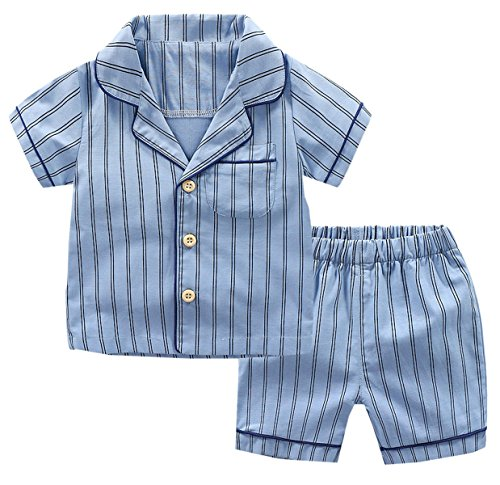 Ameyda Pajamas Kids Toddler & Little Boys 2 Piece pjs Set Striped Sleepwear Tops + Shorts Clothes Outfit, Blue, Tag Size 130 = US 5-6Y