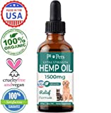 Hemp Oil for Dogs and Cats (1500mg) - Organically Grown & Made in USA - Pet Relief Formula Relieves...