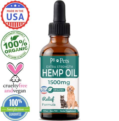 Hemp Oil for Dogs and Cats (1500mg) - Organically Grown & Made in USA - Pet Relief Formula Relieves Anxiety, Supports Hip & Joint Health, Naturally Relieves Pain, Herbal Supplement by PB Pets