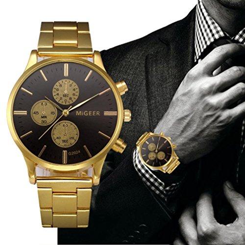 (Lywey Crystal Stainless Steel Analog Quartz Wrist Watch - Classic Casual Boyfriend Watch with 3-hand Analog Display (Black))