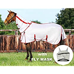 TuffRider Power Mesh Detachable Neck Fly Sheet with Free Fly Mask with Ears, White, 78