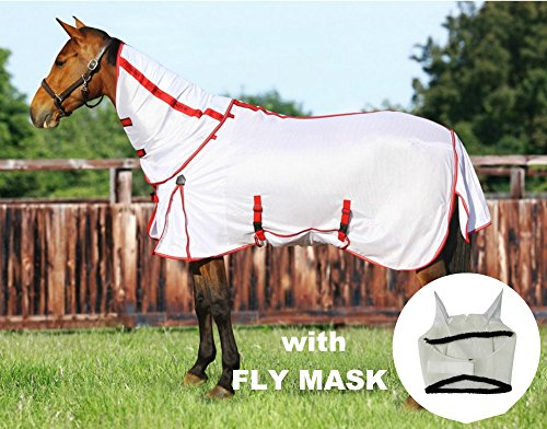 TuffRider Power Mesh Detachable Neck Fly Sheet with Free Fly Mask with Ears, White, 75