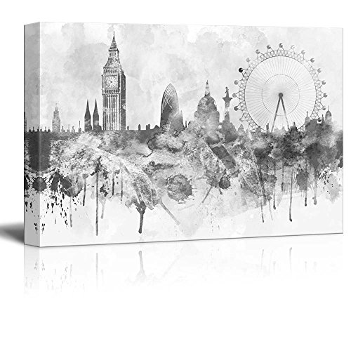 wall26 - Black and White Big Ben and The London Eye with Watercolor Splotches - Canvas Art Home Decor - 16x24 inches