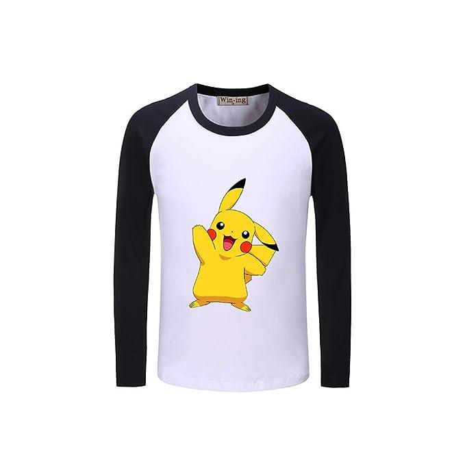 Pokemon Personalizado Manga Larga T-Shirt Clasicos Sencillas Camisetas Ocasionales Remeras Estampado Cuello Redondo Sudaderas para Novio Y Novia: Amazon.es: ...