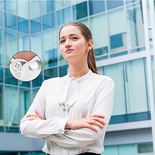 AXEN 8 Pieces Collar Extenders Elastic Metal Button Extender Neck for Shirt Dress Coat, White & Black