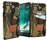 iPhone 7 Plus Case Camo, Jewell Co iPhone 7 Plus Protective Camo Wallet Case w/ Cash and 6 Card Holder, Slim Camouflage Wallet Design
