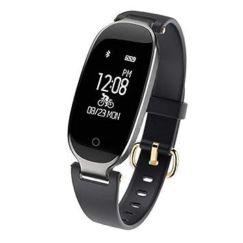 MUOGV Moda Reloj Inteligente Mujeres Ip67 Impermeable Monitor de Ritmo Cardíaco Fitness Tracker Smartwatch para iOS Android, C: Amazon.es: Deportes y aire ...
