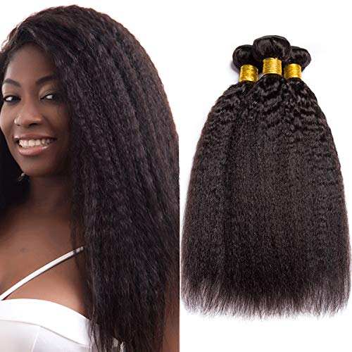 - 9A Kinky Straight Hair 3 Bundles Yaki Human Hair Weave Unprocessed Brazilian Virgin Remy Hair Extensions Natural Black (10 12 14)