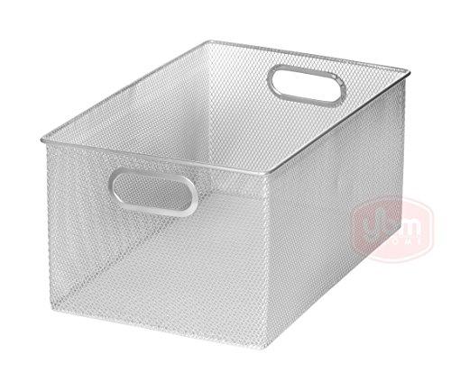 Ybm Home Household Wire Mesh Open Bin Shelf Storage Basket Organizer For Kitchen, Cabinet, Fruits, Vegetables, Pantry Items Toys 2321s (1, 13.3 x 8.5 x 6.5)