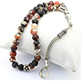 Globe Cutting Indian Agate Natural Stone Rosary - Variegated