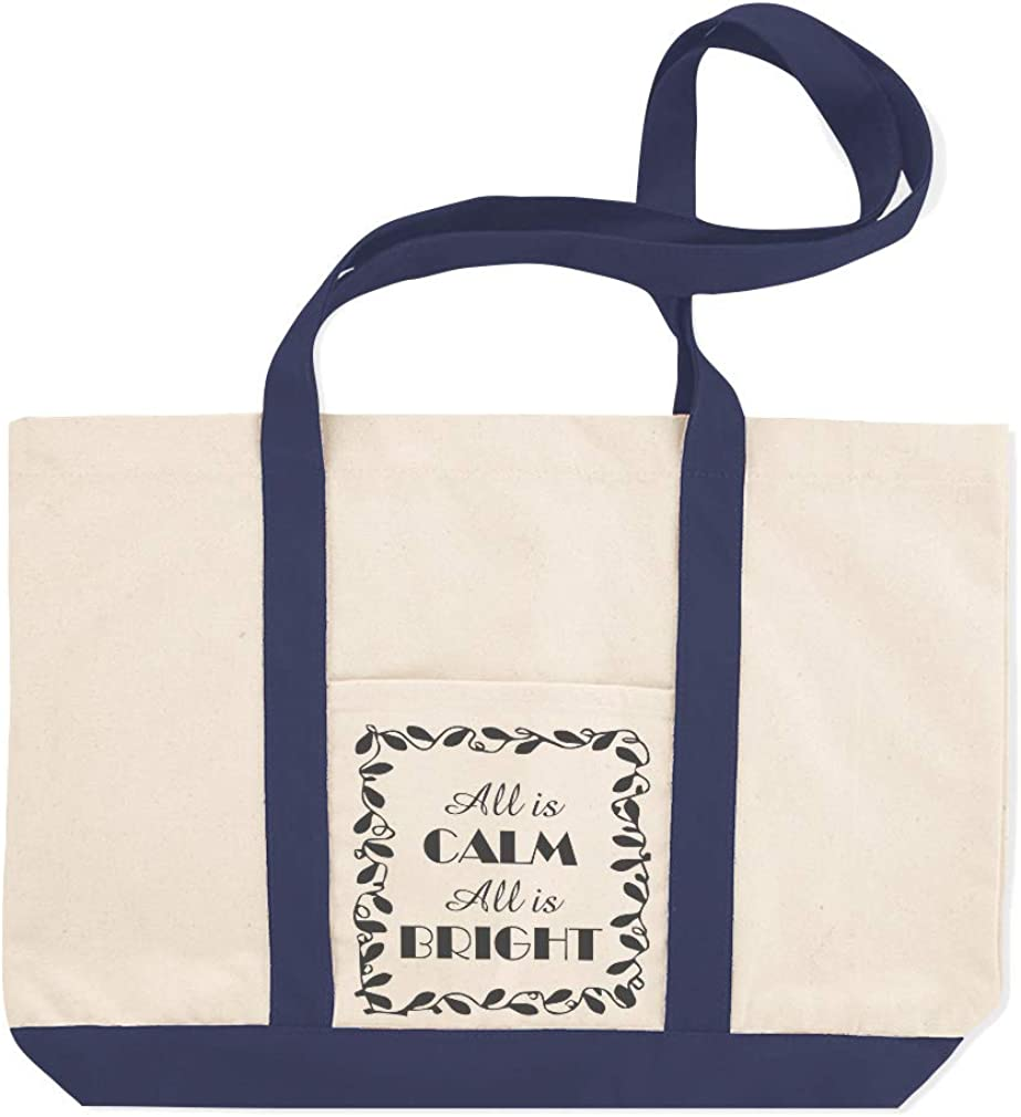 Canvas Shopping Tote Bag All Is Calm Bright B Holidays and Occasions Christmas Frame Beach for Women