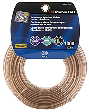 Amazon.com: Monster Cable Speaker Wire Economy Grade 16 Awg 100 ...