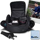 Medium Soft Padded Camera Equipment Bag / Case For Canon 70D, 60D, 6D, 7D, 40D, 30D, 20D, 1D, 1DC, 1DS, 1DX, SL1, EOS-M, 5D, 5D MARK II, 5D MARK III, T1I, T4I, T5I, XT, XTI, T3, T5 & More... + Microfiber Cloth