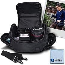 Medium Soft Padded Camera Equipment Bag / Case For Nikon 1 S2, 1 J4, D300, D300S, D3000, D3100, D3200, D5000, D5100, D5200, D5300, D5500, D610, D600, D70, D700, D7000, D7100, D800, D800E, D90, DF, 1 J1, 1 V1 & More... + Microfiber Cloth