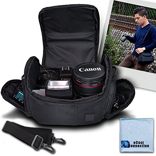 Medium Soft Padded Camera Equipment Bag / Case For Nikon 1 S2, 1 J4, D300, D300S, D3000, D3100, D3200, D5000, D5100, D5200, D5300, D5500, D610, D600, D70, D700, D7000, D7100, D800, D800E, D90, DF, 1 J1, 1 V1 & More… + Microfiber Cloth ()