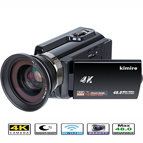 4K Camera WIFI Camcorder Kimire Ultra HD Digital Video Camera 48.0MP Recorder 3.0 Inch 270 Degree Rotation Capacitive Touch Screen Night Vision 16X Zoom Camcorder with Wide Angle Lens(4K-Black) by kimire