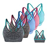 AKAMC Women's Removable Padded Sports Bras Medium Support Workout Yoga Bra 5 Pack,Medium