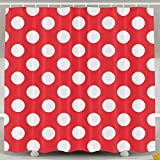 Polka Dot Shower Curtain Abaysto Red and White Polka Dots Shower Curtain,Bath Curtains Bathroom Decor Sets with Hooks Shower Bath Curtain for Bathroom,Mildew Resistant Waterproof Polyester Curtain