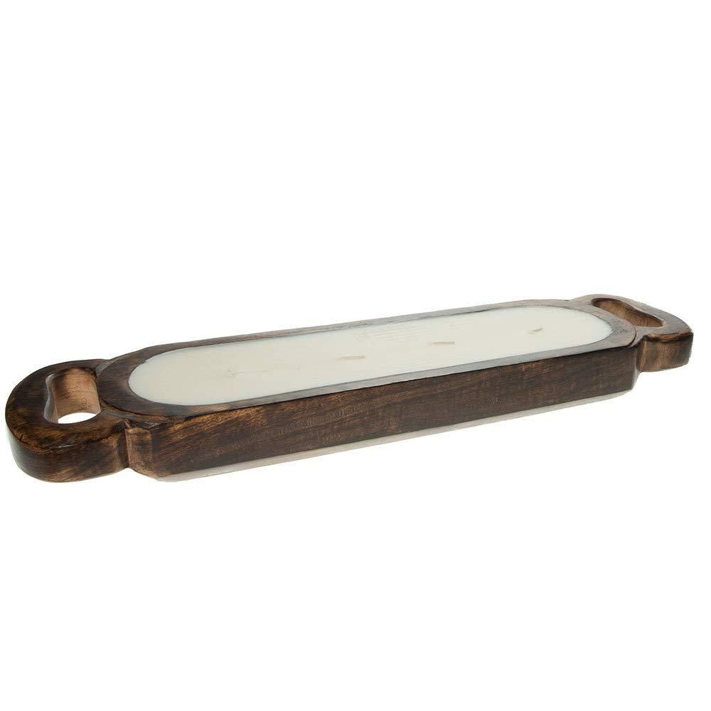 Himalayan Trading Post Medium Wooden Candle Tray Tobacco Bark