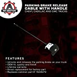 Parking Brake Release Cable with Handle - Replaces# 15226272 - Chevy Silverado, Chevrolet Tahoe, Suburban, Avalanche, GMC Sierra, Yukon, Denali - Parking Brake Cable for Emergency Hand Brake