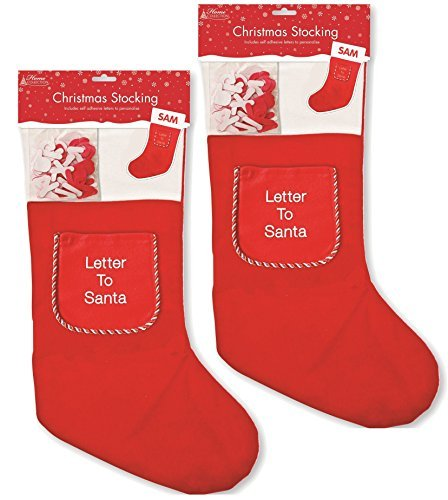 2 x red christmas stockings personalised name with letter to santa 2 x red christmas stockings personalised name with letter to santa pocket spiritdancerdesigns Gallery