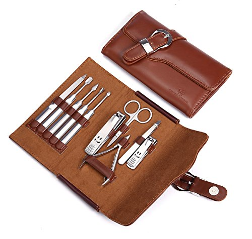 - Manicure Set Nail Clipper Set of 10pcs With Leather Case - Professional Stainless Steel Grooming Kit Pedicure Set for Travel (Brown)