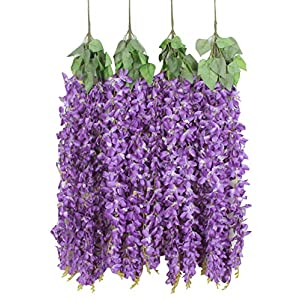 Duovlo 4 Pcs 3.12 Feet Artificial Wisteria Hanging Garland Flowers Silk Flower Bush for Wedding Party Home Garden Wall Restaurant Decoration(Purple) 50