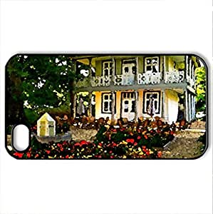 HOUSE with GARDEN - Case Cover for iPhone 4 and 4s (Houses Series, Watercolor style, Black)
