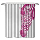 Pink Zebra Print Shower Curtain Anniutwo Pink Zebra Shower Curtains Fabric Extra Long Head of Zebra Vibrant Portrait Watercolor Murky Aquarelle Watercolor Print Bathroom Set with Hooks W48 x L72 Magenta White
