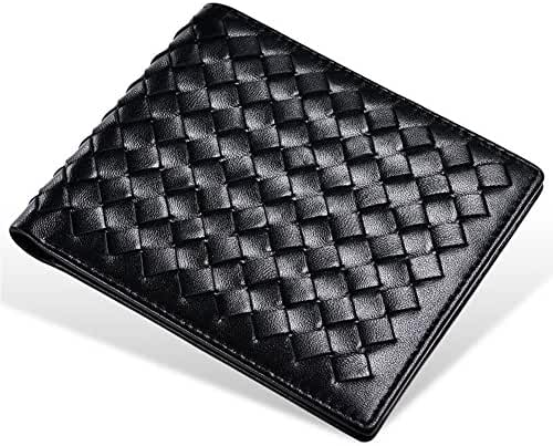 Huluwa Men's Leather Wallet, Top Layer Lambskin, Handcrafted Woven Pattern
