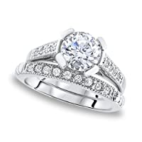 Created Diamonds Solitaire Double Ring 1.93 Ctw in Sterling Silver (096110) from Gemorie