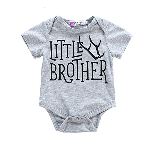 GRNSHTS Baby Boys 2 Style Deer Print T-Shirt Romper Twins Brother Suit (100/12-18 Months, Z Little Brother)