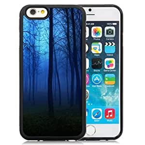 Fashion Custom Designed Cover Case For iPhone 6 4.7 Inch TPU Phone Case With Creepy Forest Night Fog_Black Phone Case