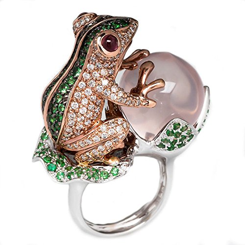 Yupha Animal Frog Peach Emerald White Topaz 925 Silver Ring Wedding Engagement Sz 6-10 (Emerald Frog)