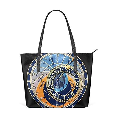 LORVIES Astronomical Clock Prague PU Leather Shoulder bag Purse and handbags Tote Bag for women (Prague Leather Handbag)