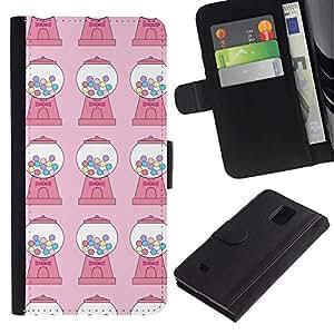 KingStore / Leather Etui en cuir / Samsung Galaxy Note 4 IV / Dulces chicle Modelo rosado de la máquina