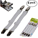 Sfoothome Adjustable Bed Sheet Fasteners Suspenders, White, Set of 4 (1)