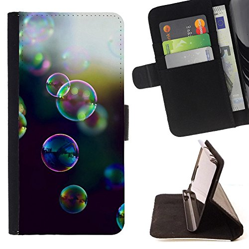 God Garden - FOR Apple Iphone 5C - Bubbles Iridescence - Glitter Teal Purple Sparkling Watercolor Personalized Design Custom Style PU Leather Case Wallet Fli