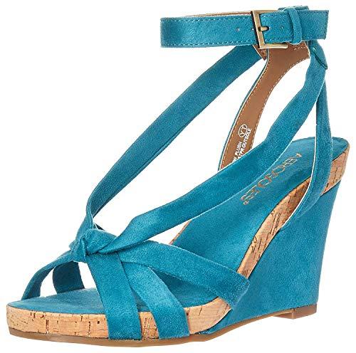 Aerosoles - Women's Fashion Plush Wedge Sandal - Open Toe Strap Platform Heel Shoe with Memory Foam Footbed (7.5M - Teal - Wedge Block