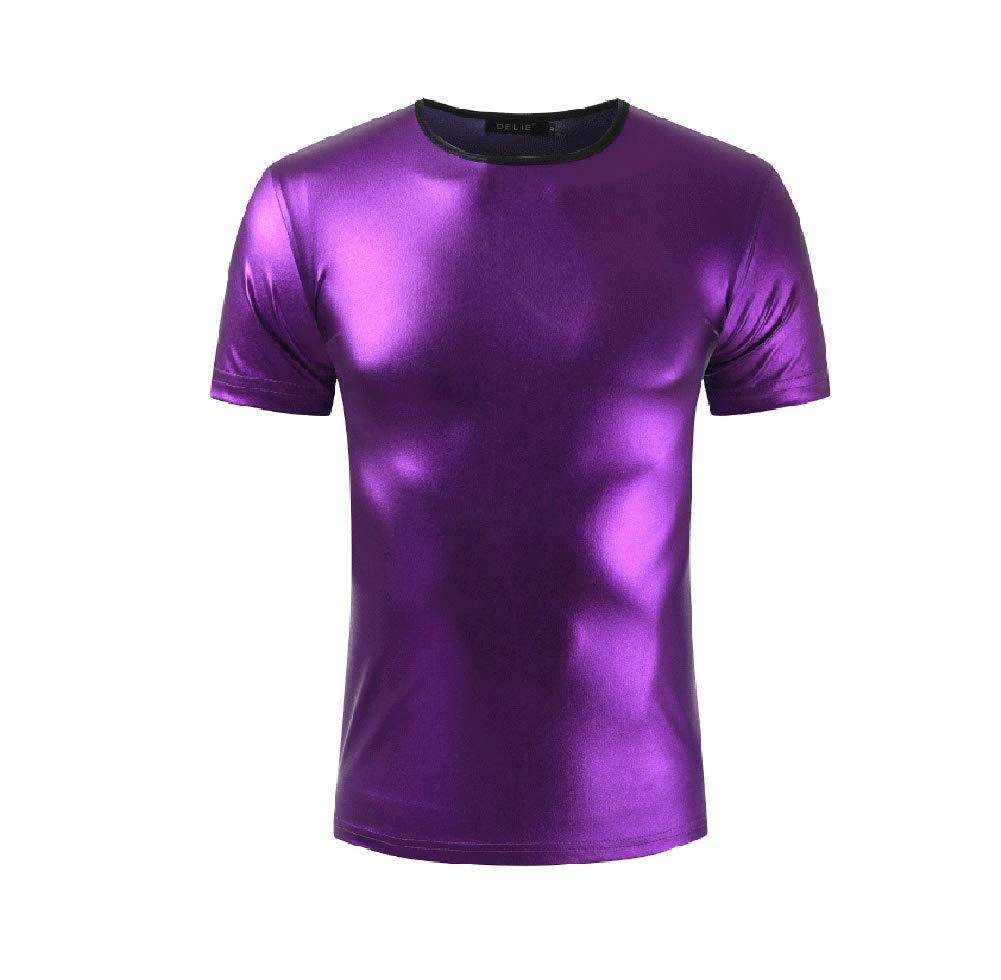 JANYN Men Glossy Modal Round-Neck Short Sleeve Clubwear Pure Color T-Shirt