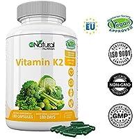 Vitamine K2-200mg Ménaquinone MK-7 Naturelle Extra Fort Protection Coeur-Cerveau-Os solides.Supplément Végan Certifié.180 Gélules de chlorophylle 100% végétale.1/jour.Fabriqué UE.N2 Natural Nutrition