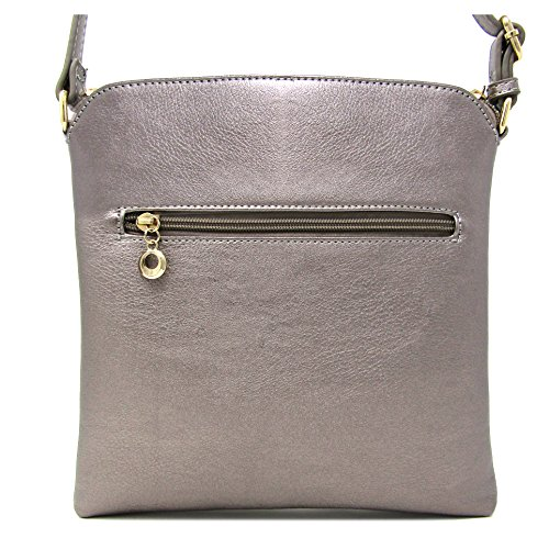 Adjustable with Crossbody Faux Bag Strap Light Large Medium Leather Purse Shoulder Organize and Capacity Weight Pewter Rich Women's gCOx6wqff