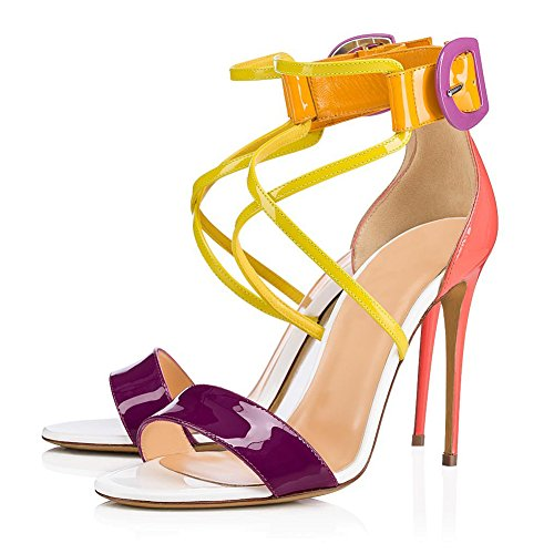 Evening Heel Strap 45 Candy Party amp; for A Platform Sandals Summer Dress Size Color Toe Women's Pointed Shoes Shiny Stiletto PU Cross Color qnawSxA8w