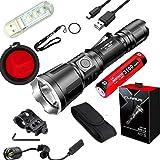 Klarus XT11X Rechargeable Tactical Flashlight Cree XHP70.2 3200 Lumens LED Flashlight with Battery,Mini USB Light,Metal Gun,Switch TRS1,FT11 Filter (XT11X Gun Mount,Switch TRS1,FT11 red Filter)