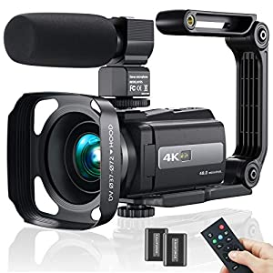 Flashandfocus.com 51rRZN1yjaL._SS300_ 2021 New Upgraded Video Camera Camcorder, 4K WiFi Ultra HD 48MP Vlogging Recorder with IPS Touch Screen, IR Night Vision…